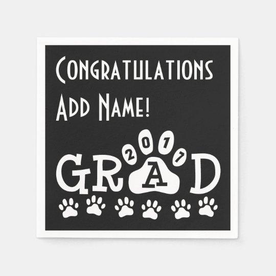 GRAD 2017 Black and White PAWS - Cute Graduation Disposable Napkin