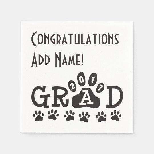 GRAD 2017 Black and White PAWS - Cute Graduation Disposable Napkins