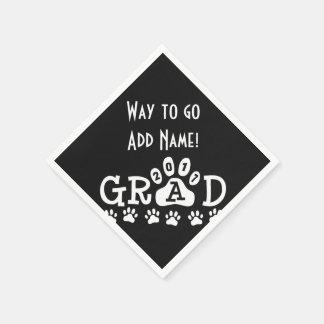 GRAD 2017 Black and White PAWS - Cute Graduation Paper Napkin