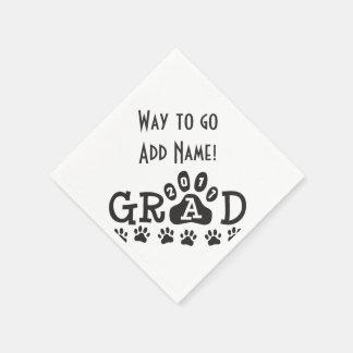 GRAD 2017 Black and White PAWS - Cute Graduation Paper Napkins