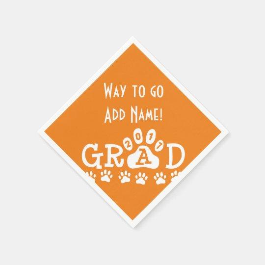 GRAD 2017 Orange and White PAWS - Cute Graduation Disposable Napkin