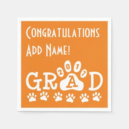 GRAD 2017 Orange and White PAWS - Cute Graduation Paper Napkin