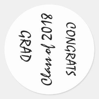GRAD 2018 CLASSIC ROUND STICKER