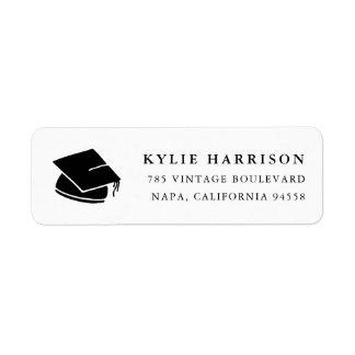 Grad Cap | Black & White Graduation Return Address Return Address Label