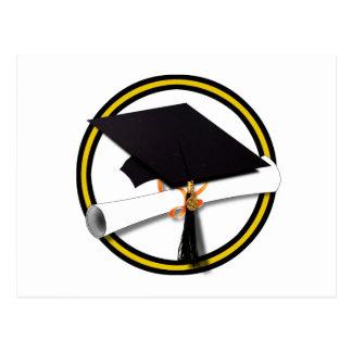Grad Cap Diploma 1 Gold Black Postcard