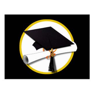 Grad Cap & Diploma - Black Background Postcard