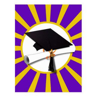 Grad Cap & Diploma - Purple and Gold School Colors Post Cards