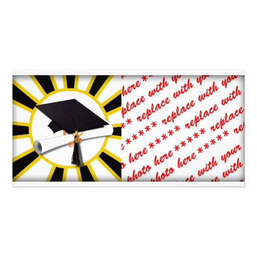 Grad Cap & Diploma w/ School Colors Black and Gold Photo Card Template