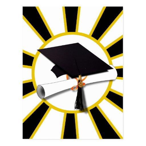 Grad Cap & Diploma w/ School Colors Black and Gold Postcard