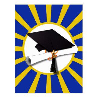 Grad Cap & Diploma w/ School Colors Blue and Gold Postcard