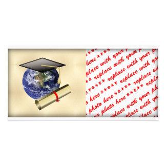 Grad Cap on Earth w/Diploma on Golden Background Custom Photo Card