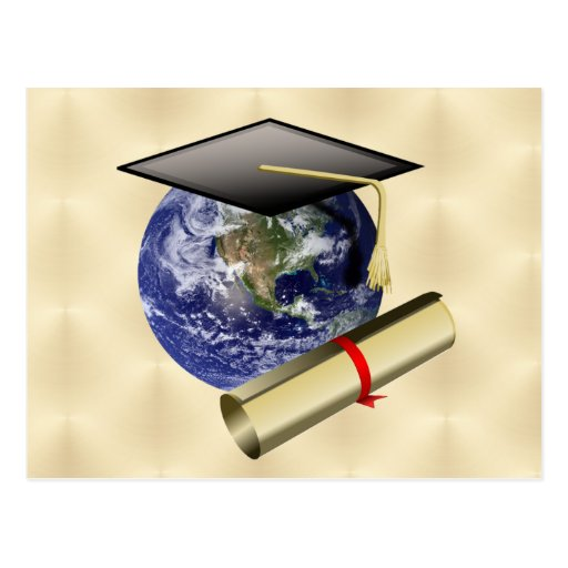 Grad Cap on Earth w/Diploma on Golden Background Postcard