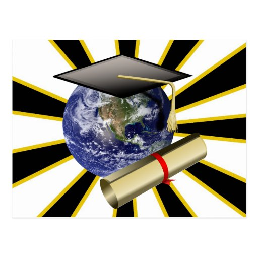 Grad Cap on Earth w/Diploma ~ ZOOMin' ~ Post Cards