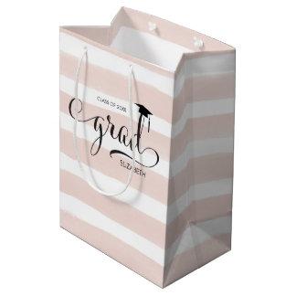 Grad Cap Pink Stripes Medium Gift Bag