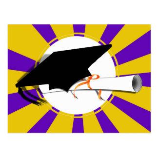 Grad Cap Tilt & Diploma  w/ Colors Purple & Gold Postcard