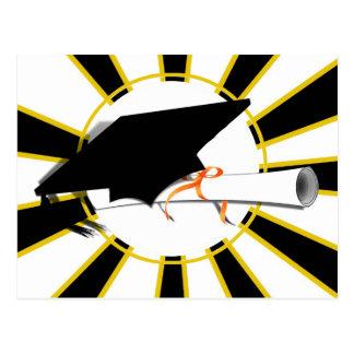 Grad Cap Tilt w/ School Colors Black and Gold Postcard