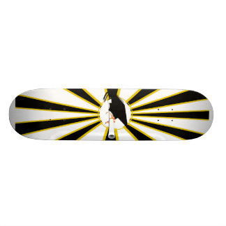 Grad Cap Tilt w/ School Colors Black and Gold Skateboard Deck