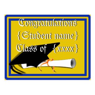 Grad Cap Tilt w/ School Colors Blue And Gold Postcard