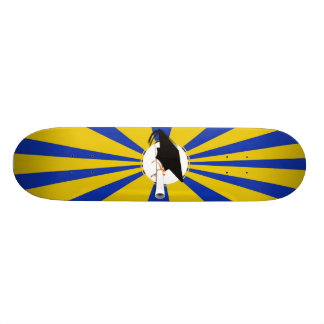 Grad Cap Tilt w/ School Colors Blue And Gold Skate Board Deck