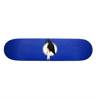 Grad Cap Tilt w/ School Colors Blue And Gold Skateboards