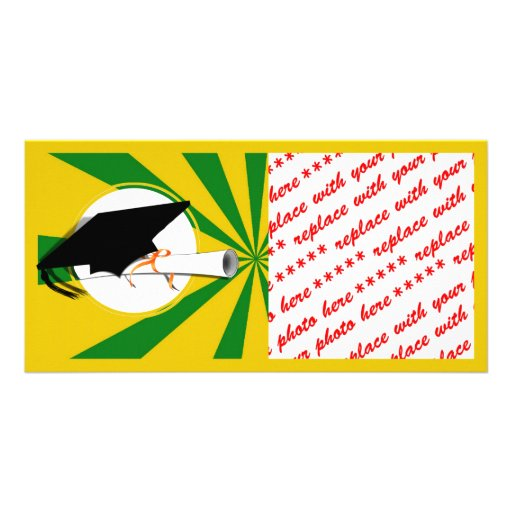 Grad Cap Tilt w/ School Colors Green and Gold Personalized Photo Card