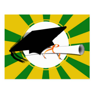 Grad Cap Tilt w/ School Colors Green and Gold Postcard