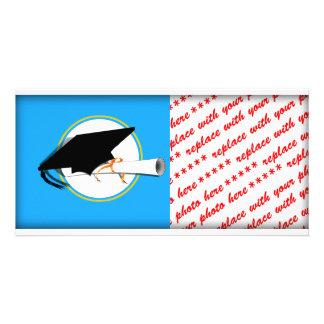 Grad Cap Tilt w/ School Colors Lt Blue And Gold Photo Cards