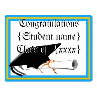 Grad Cap Tilt w/ School Colors Lt Blue And Gold Post Card