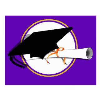 Grad Cap Tilt w/ School Colors Purple And Gold Postcard
