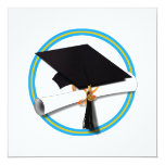 Grad Cap w/ Diploma - Gold & Lt Blue School