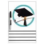 Grad Cap w/ Diploma - Gold & Lt Blue School Dry Erase Whiteboards