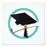 "Grad Cap w/ Diploma - Gold & Lt Blue School 5.25"" Square Invitation Card"