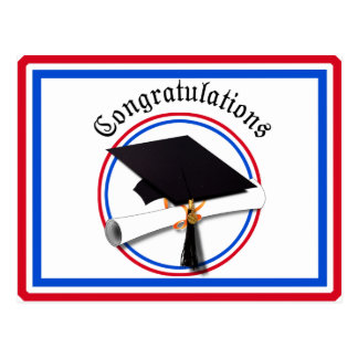 Grad Cap w/Diploma - Red & Blue School Colors Postcard