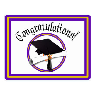 Grad Cap w/Diploma - School Colors Purple & Gold Postcard