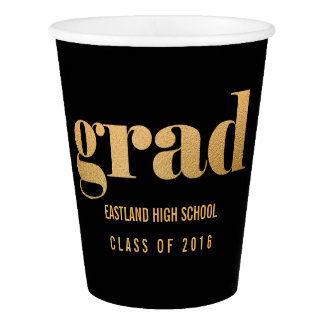 Grad Faux Gold Foil Bold Typography Black Paper Cup
