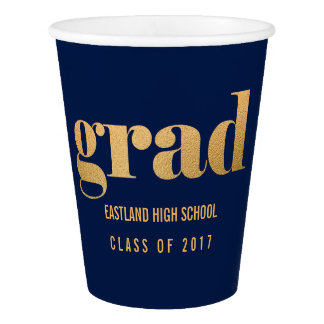 Grad Faux Gold Foil Bold Typography Navy Blue Paper Cup