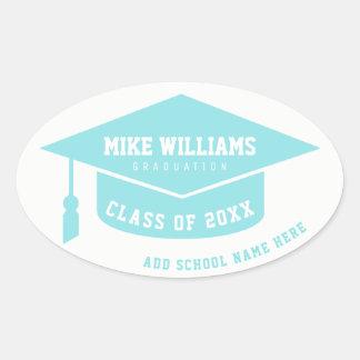 grad / graduate / graduation clear blue oval sticker