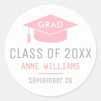 grad / graduate / graduation feminine classic round sticker