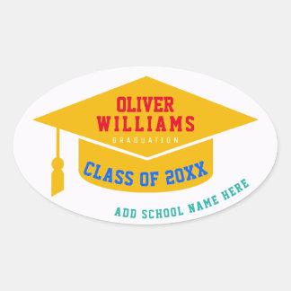 grad / graduate / graduation modern color oval sticker