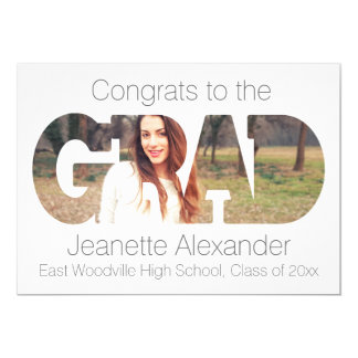 Grad Modern Cutout Photo Graduation Annoucnement Card