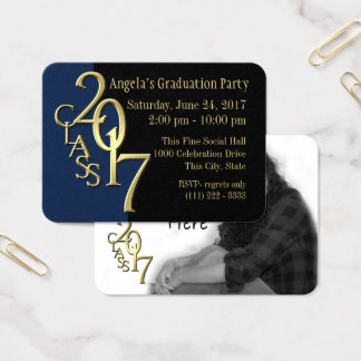 Grad Party Blue and Gold Photo Insert Card 2017