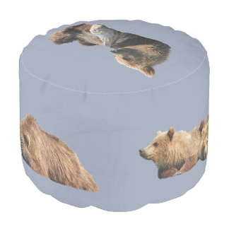 Grade A Woven Cotton Round Pouf w/ grizzlies