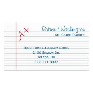 Graded Paper Teachers Business Card