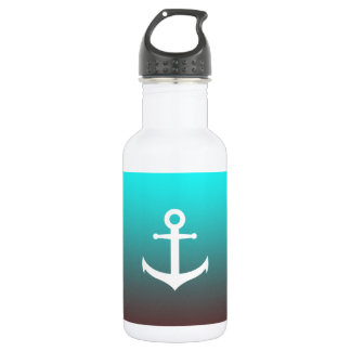 Gradient aqua red   white anchor 532 ml water bottle