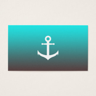 Gradient aqua red | white anchor business card