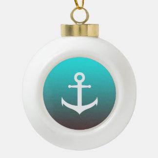 Gradient aqua red | white anchor ceramic ball christmas ornament