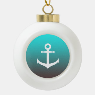 Gradient aqua red | white anchor ceramic ball ornament