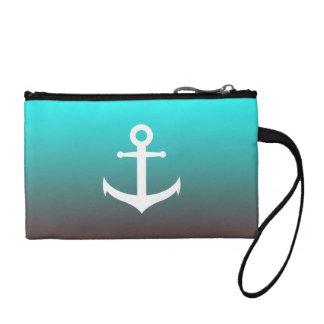 Gradient aqua red | white anchor coin purse