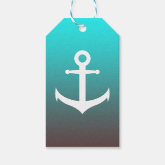 Gradient aqua red | white anchor gift tags