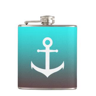 Gradient aqua red   white anchor hip flask